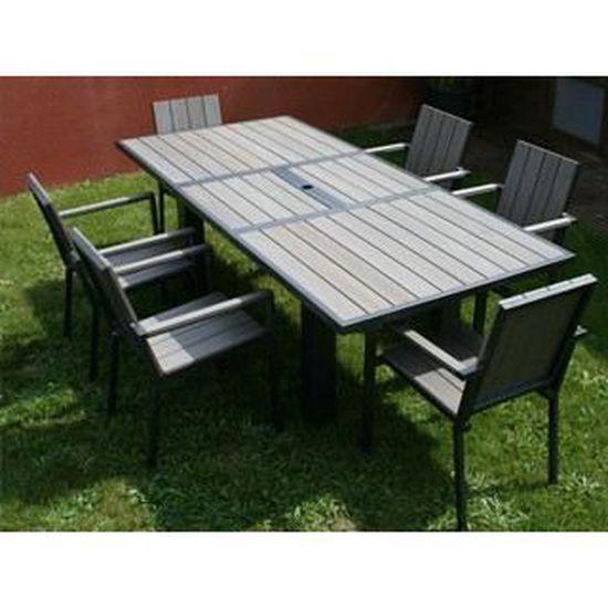 Table de jardin en aluminium et composite clair - Achat / Vente ...