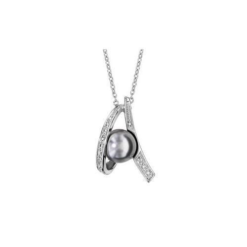 Collier argent rhodié perle grise et oxydes blancs