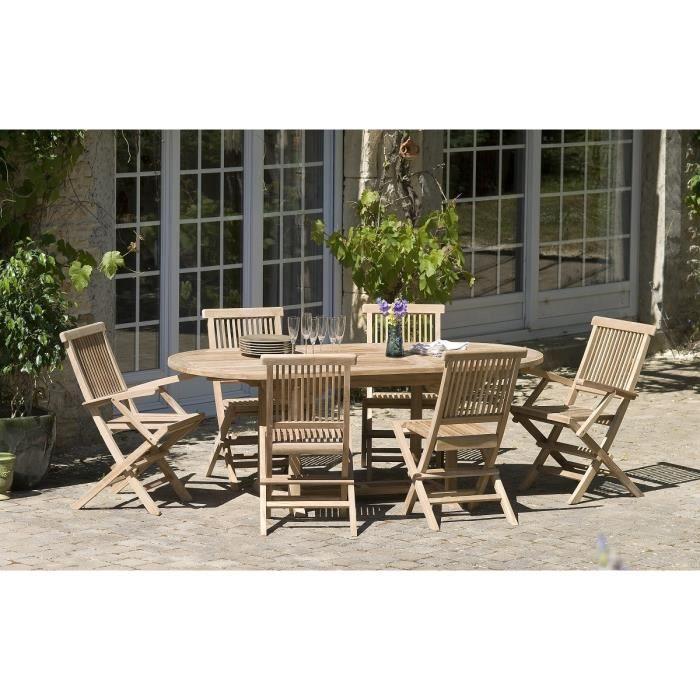 Table de jardin en teck massif ovale achat vente pas - Table de jardin en teck pas cher ...