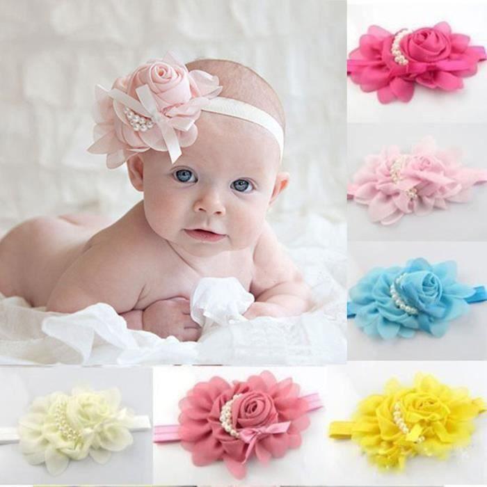 meilleure collection style populaire femme Deessesale®8PC bébés bandeaux fille garçon strass Mousseline fleur tête  bande cheveux^ZJW11169764
