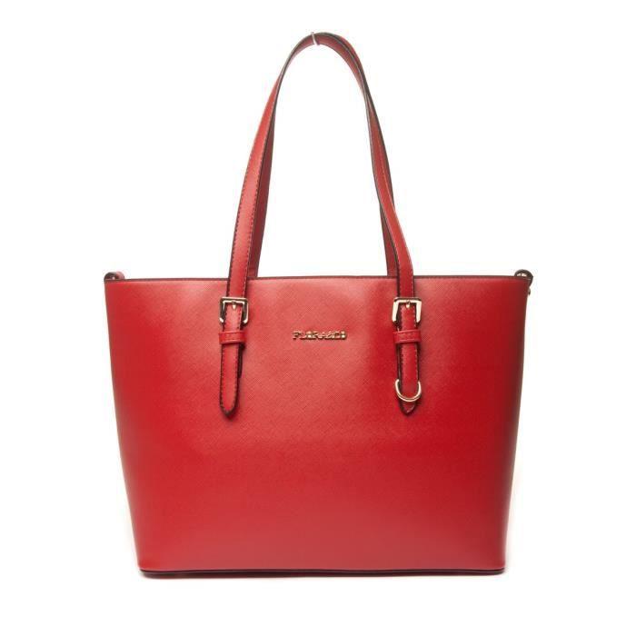 03bc49ebec824 Sac à main cabas femme porté épaule main grand format - Flora and Co - Rouge