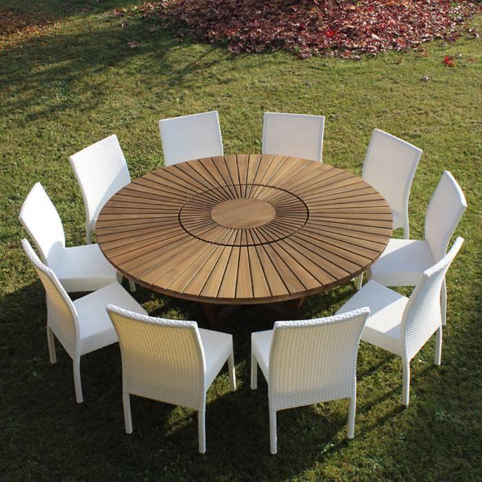 Table de jardin ronde en bois de teck Real Table. - Achat / Vente ...