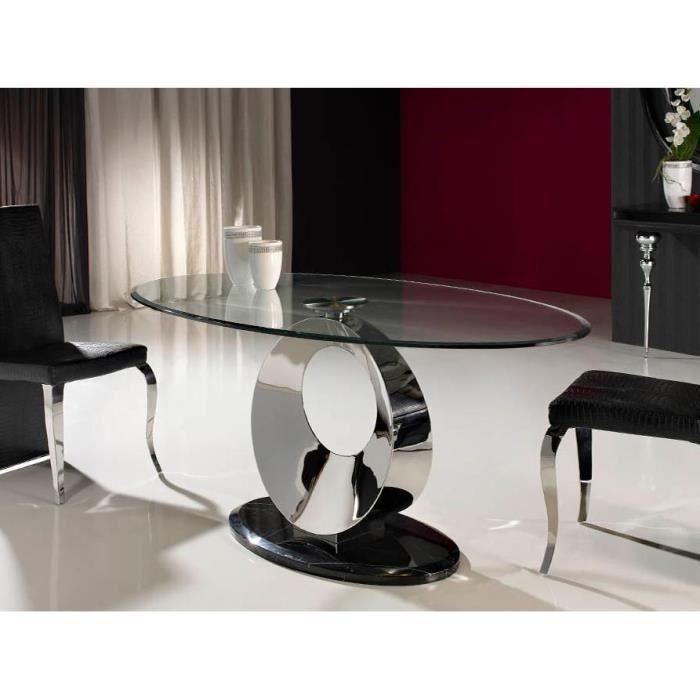 Table design de salle a manger ovale en verre, acier et marbre 180 ...