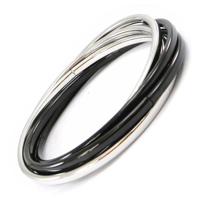Bracelet acier Divine Chorégraphienoir argenté