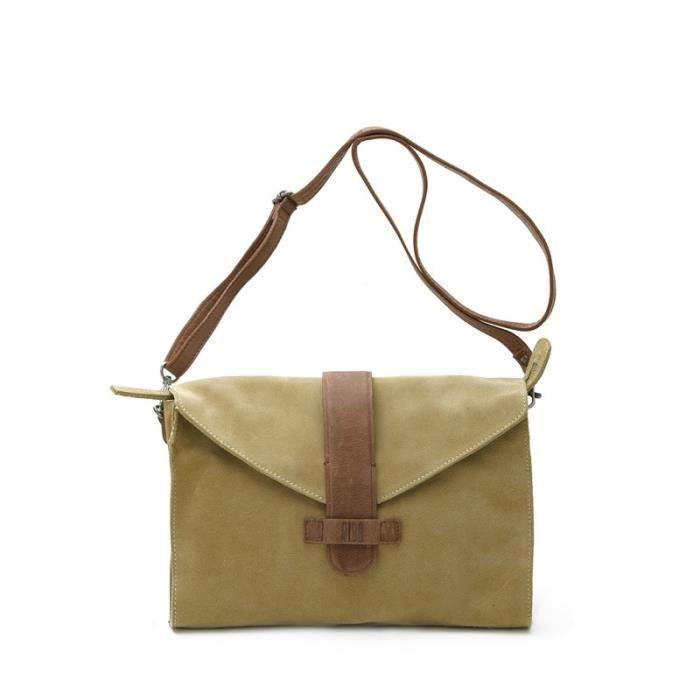 Pochette BIBA en cuir retourné verde - Achat   Vente pochette ... acced863ab0