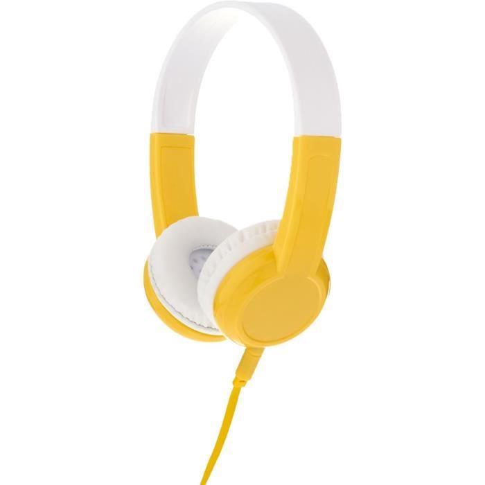 Buddyphone Casque Filaire Explore - Jaune Et Blanc Pour Enfant