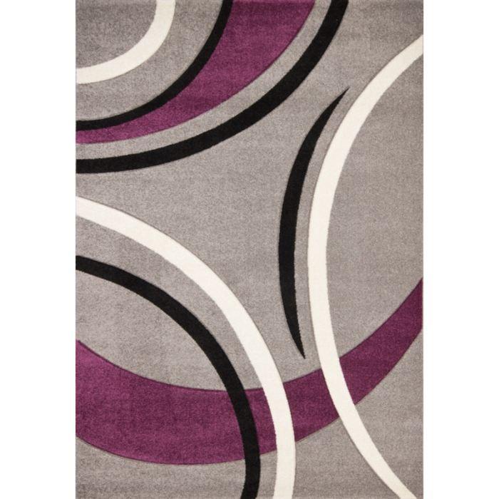 Havanna Tapis De Salon 200x290 Cm Violet Gris Et Noir