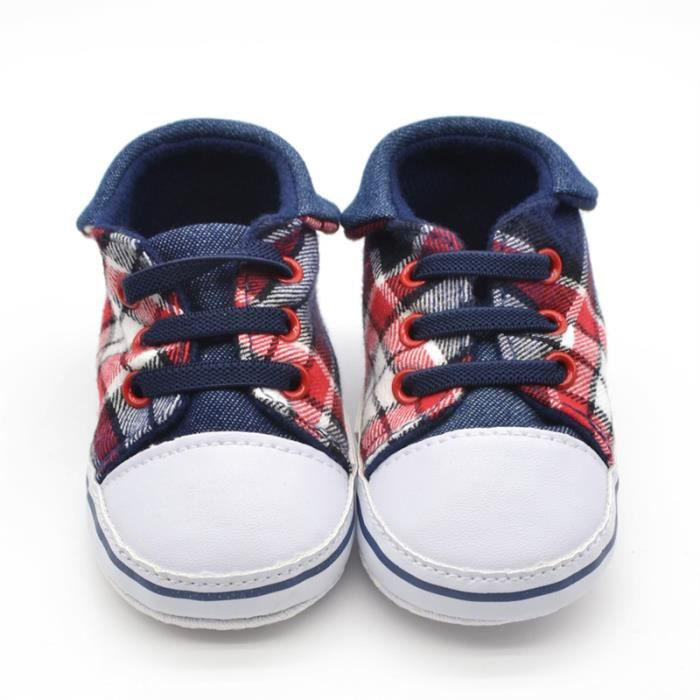 204852f1846 Border plaid chaussures de toile enfants confortables apparence mignonne  design tendance pour les enfants