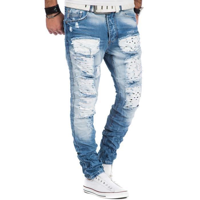 e2ef5cf2e743f Jean homme déchiré Jean 6666 bleu Bleu Bleu - Achat / Vente jeans ...