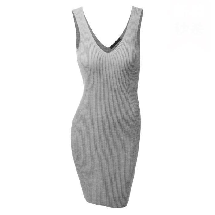 232798cbef1 SIMPLE FLAVOR Robe de maille femme moulante grande taille Robe débardeur