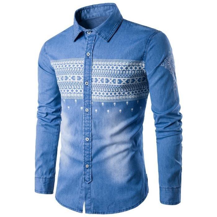 7f38c4e2021 Bleu Clair Chemise en Jeans Homme Manches Longue Grande Taille Col Roulé  Blanc Imprimée en Coton Slim Fit Vêtement Homme M-XXXL