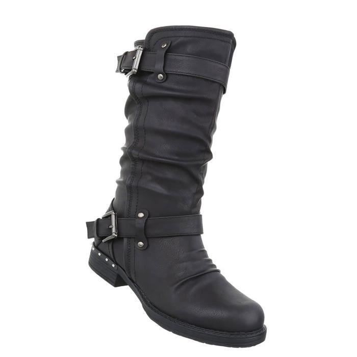 Chaussures femmes bottes Used optique Bottes noir 41