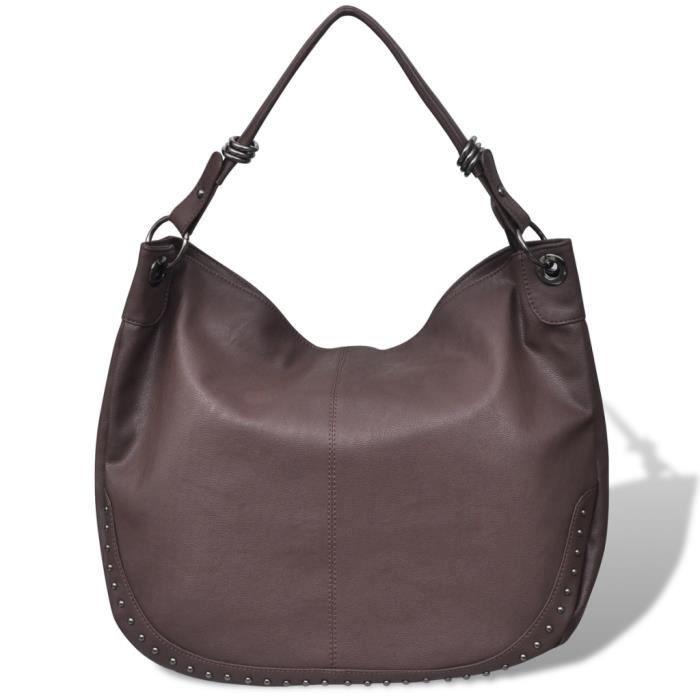 8654f84456 Grand sac à main marron foncé - Achat / Vente Grand sac à main ...