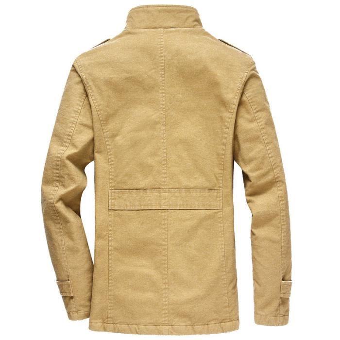 Épaisse Flavor Homme Mi Chaud Simple Coton Officier En Bleu Col Blouson longue xFRgq4nwF
