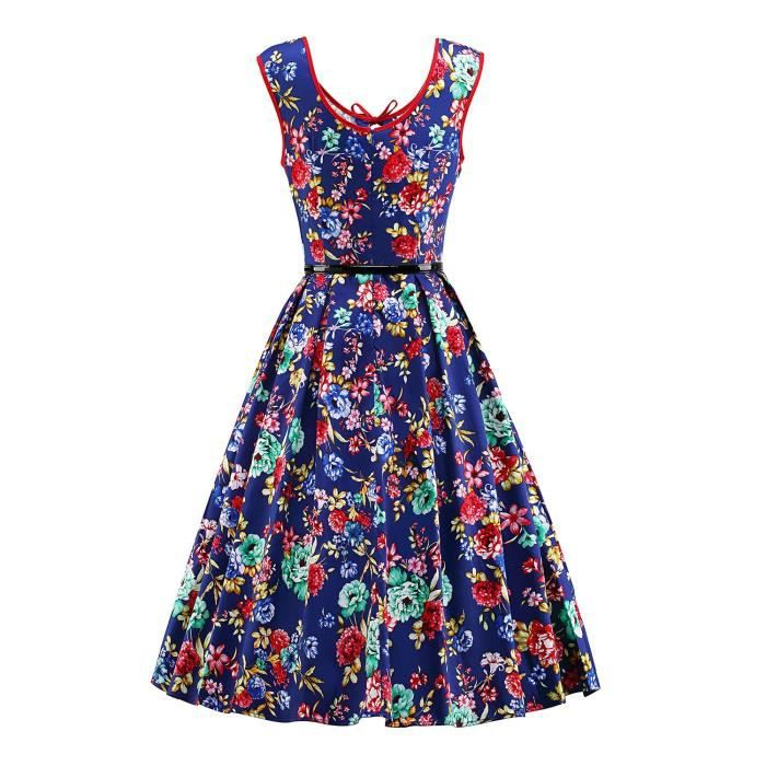 Womens 1950s V-neck Vintage Rockabilly Swing Dress 2QBKID Taille-38
