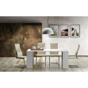 Table console blanc laque achat vente table console for Table 8 personnes extensible
