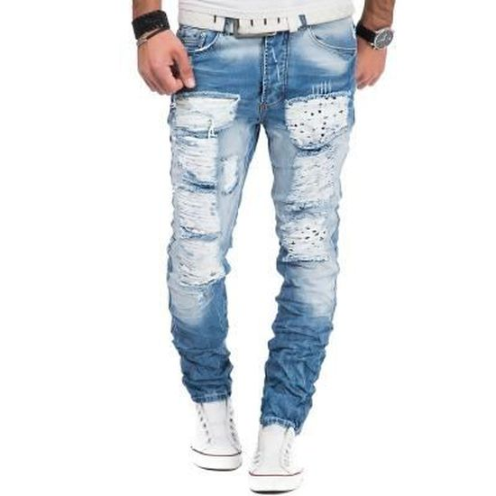 eb8fe704dd37b Jean homme déchiré Jean 6666 bleu Bleu Bleu - Achat / Vente jeans - Soldes  d'été Cdiscount