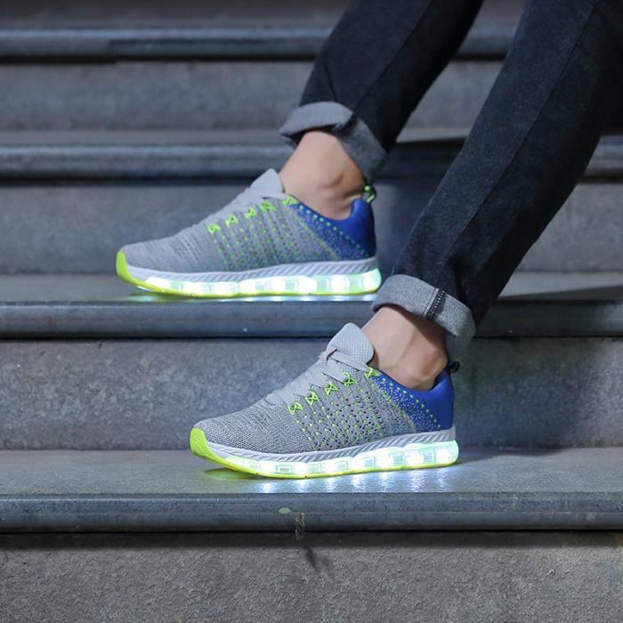 Mixte Chaussures LED Basket Chaussures de Sport
