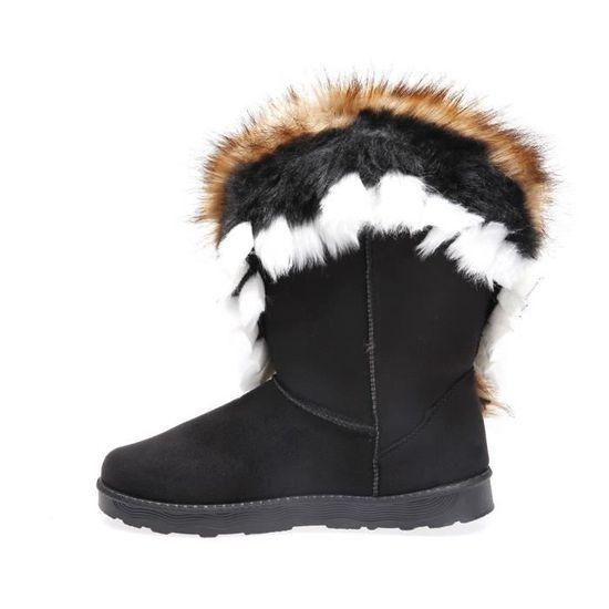 0a9633c9d09179 La Modeuse - Boots en suédine avec col en fourrure multicolore (noire,  marron, blanche) Noir Noir - Achat / Vente bottine - Cdiscount