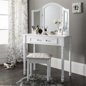 COIFFEUSE SIENNA Set coiffeuse avec miroir et tabouret - Bla