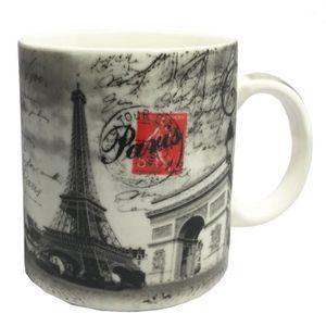 SERVICE À THÉ - CAFÉ Tasse Jumbo Paris 11 cm - Modele Noir et blanc