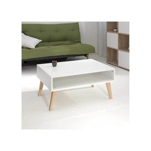 table basse blanc pied bois - achat / vente table basse blanc pied