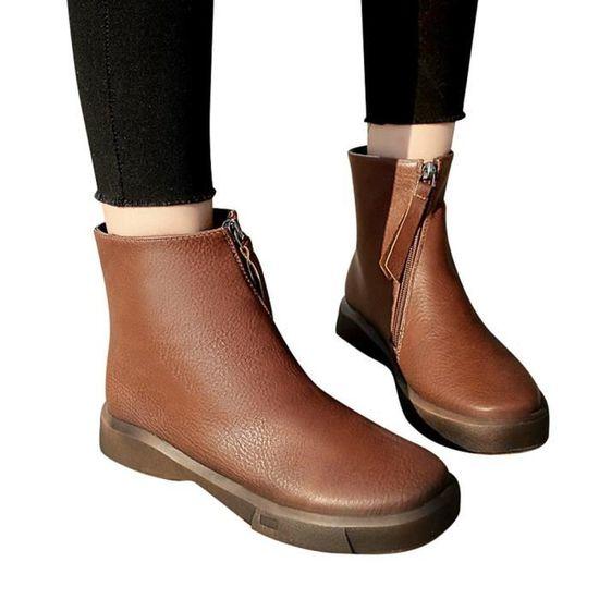 Étudiants de mode Chaussures plates Martin Bottes Chaussures Femmes épais Bottes courtes Marron Marron - Achat / Vente botte