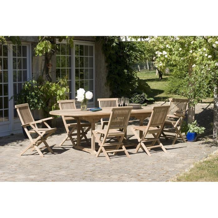 Table en bois teck massif ovale extensible de jardin 180 - 240 cm ...