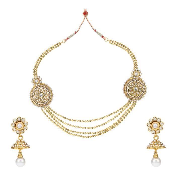 Femmes Antique mariée blanc Set métal en alliage avec collier bijoux et boucles doreilles pourC44IP