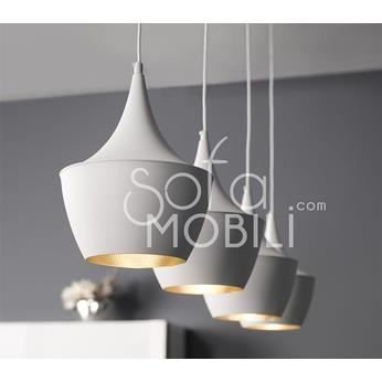 Luminaire suspension noir ou blanc 4 lampes design sibka for Suspension luminaire soldes