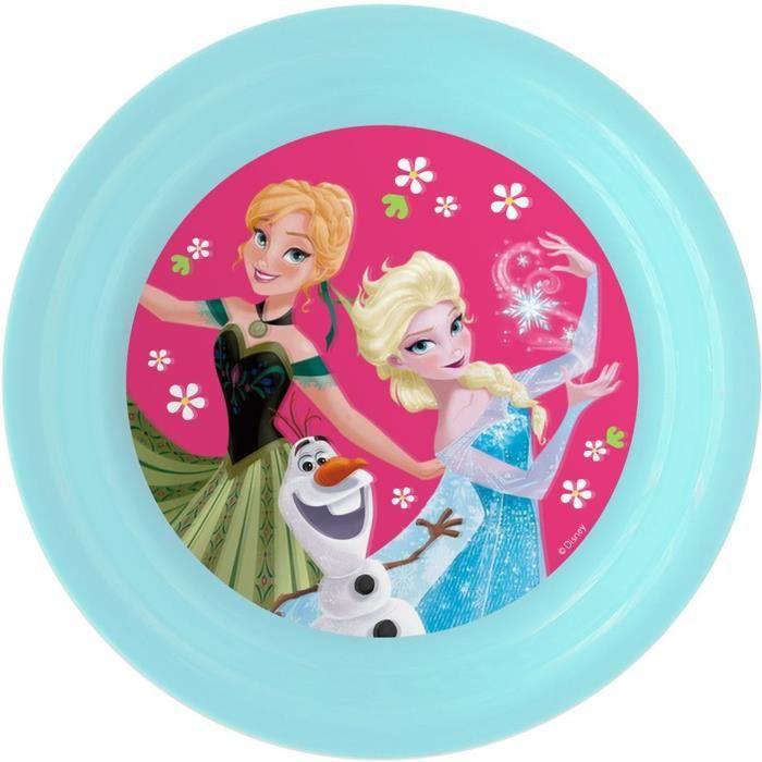 LA REINE DES NEIGES Assiette Plate - Ø20 cm - Rose et Turquoise