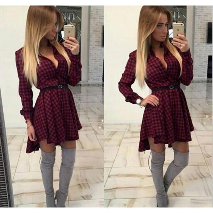 New Fashion Robe pliss e Dot Women Vin rouge