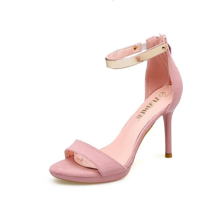SHELOVEIT® Sandales Femmes Suede Stiletto Talon Cheville Bracelet Sexy AUhLmulE1