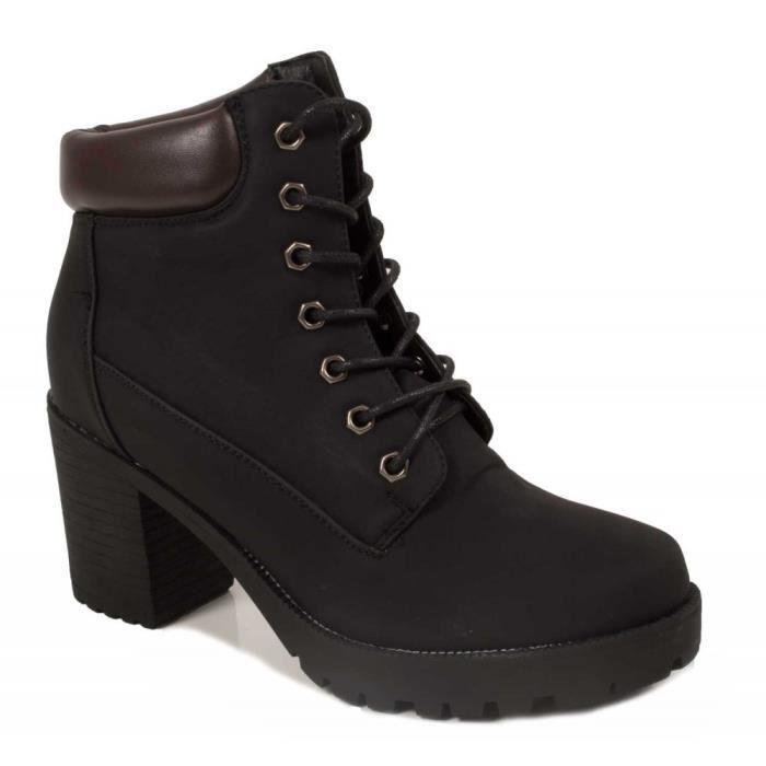 Boots femme rangers à talon épais camel ou noir-41 Noir Noir - Achat ... 36f5703e2a17