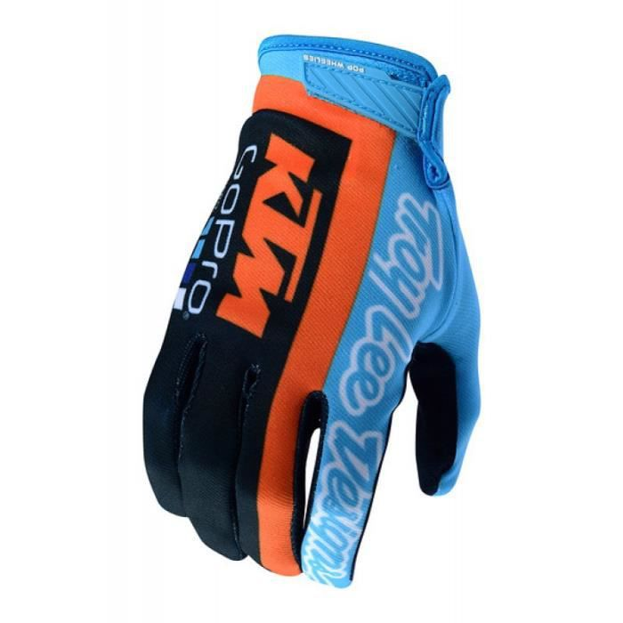 Gants Moto Cross Vtt Team Troy Lee Designs Ktm Gopro Air Bleu Bleu