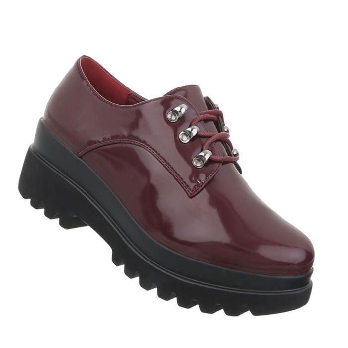 Chaussures femmes flâneurs laçage Bottes bordeaux 41