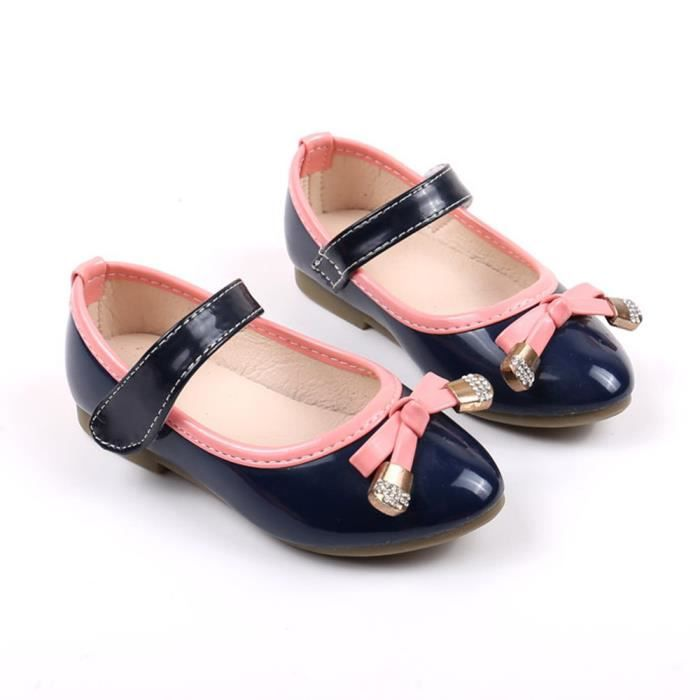 BOTTE Bébé Fashion Candy Couleur Bow Sneaker Enfant Filles Toddler Casual Chaussures simples@Bleu foncé