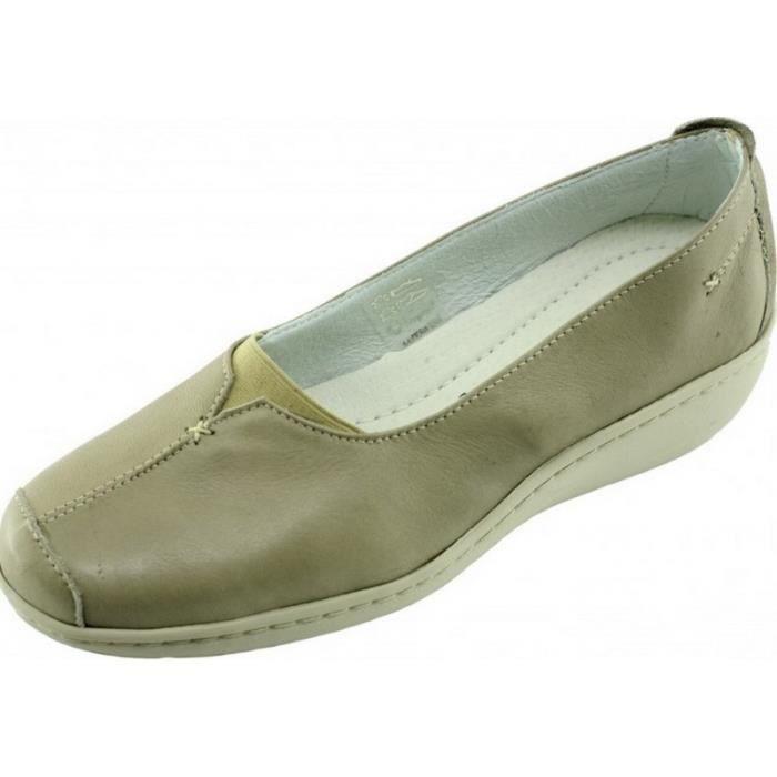 3686b1f709ec Olifant - Mocassin largeur plus compensé souple flexible confortable  chaussures grande largeur Femme pieds sensibles cuir beige