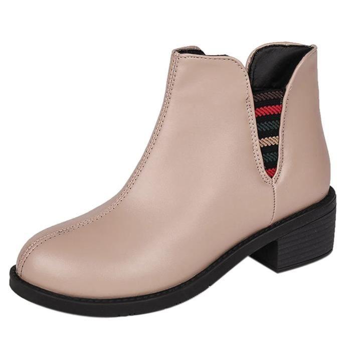 8cd0adb7612 Bottes en cuir femmes talons bas Automne Hiver Martin Bottines Chaussures  pour femmes Beige