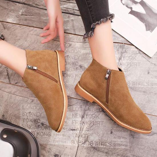 8cf63a35727765 ... Cuir De Plates 11 En Vintage Bottines Confortable Chaussures Botte  Femmes Souple Jaune Mode FROaqYF ...