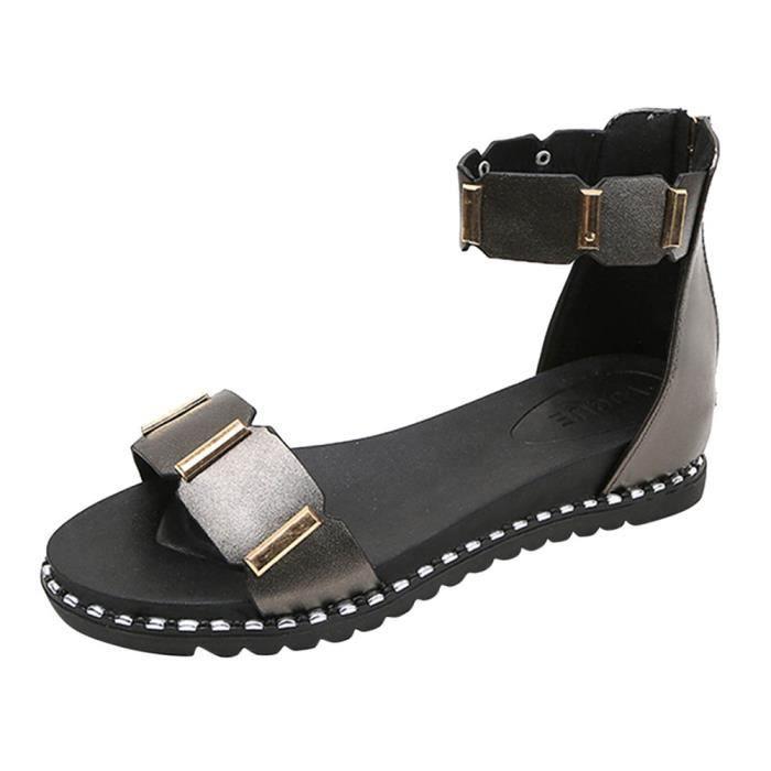 deuxsuns®Femmes Sandales New Été Sandales Chaussures Sandale plate Zipper