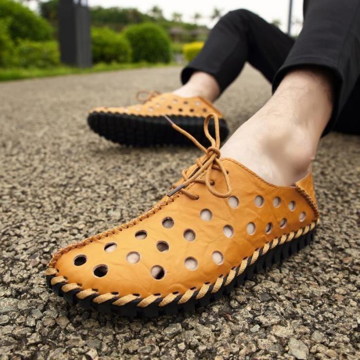 Chaussures creux véritable d'été en cuir hommes Flats Mocassins Respirant Casual Homme Chaussure Cuir véritable Hommes Mocassins