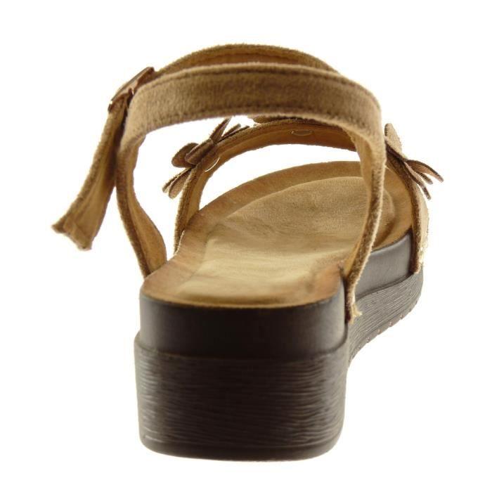 Angkorly - Chaussure Mode Sandale Mule plateforme lanière cheville femme fleurs clouté bois Talon compensé plateforme 4.5 CM -