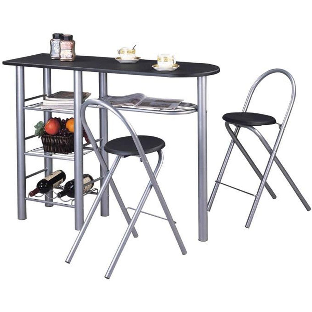 Ensemble STYLE Avec Table Haute De Bar Mange Debout Comptoir Et 2 Chaises Tabourets En MDF Noir Mat Structure Metal