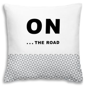 TODAY Coussin déhoussable 100% coton California Dream On the Road 40x40 cm stone et blanc
