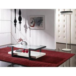 TABLE BASSE Table basse blanc laqué avec plateau en verre cont