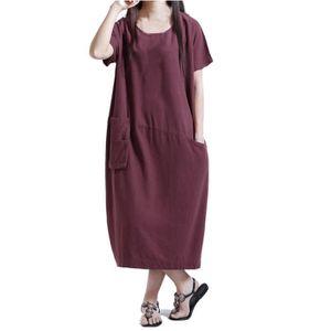 ROBE Femmes à manches courtes en coton lin lâche Pocket