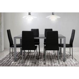 Ensemble Salle à Manger 6 Chaises Table Noir Gris Achat Vente