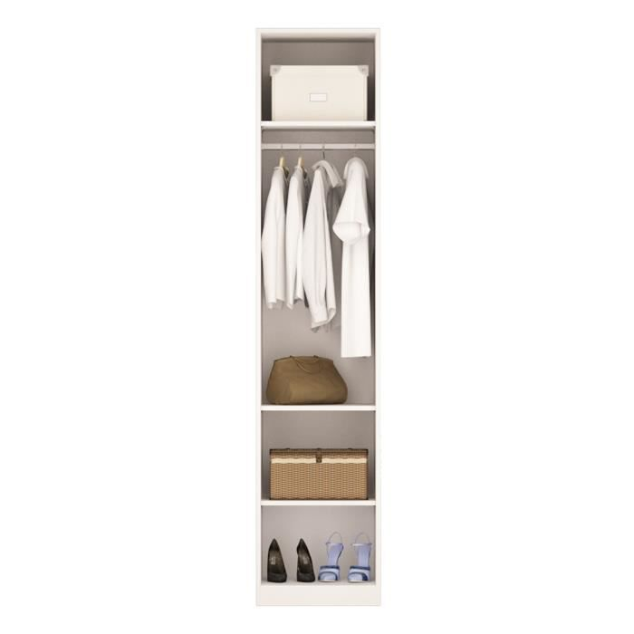 M o penderie 50cm blanche avec 3 tag res blanc achat vente etag re murale m o penderie - Etagere 50 cm largeur ...