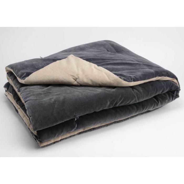 couvre lit velours gris Carré de lit en velours gris anthracite 150X150 cm   Achat / Vente  couvre lit velours gris